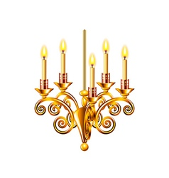 Golden chandelier isolated on white vector