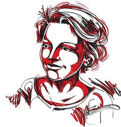Hand-drawn of beautiful romantic woman colo vector