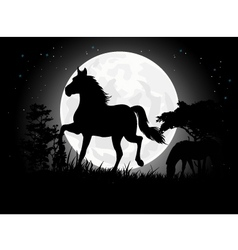 Horse silhouettes with giant moon background vector image