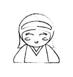 Japanese doll geisha folk sketch vector