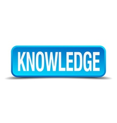 Knowledge blue 3d realistic square isolated button vector
