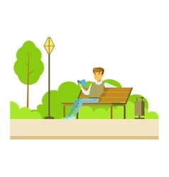 Man Reading A Book On The Bench Part Of People In vector image vector image