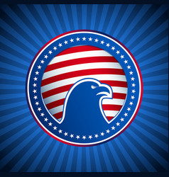 medal flag eagle us america background head vector image