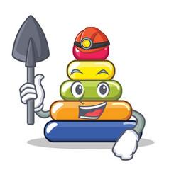 Miner pyramid ring character cartoon vector