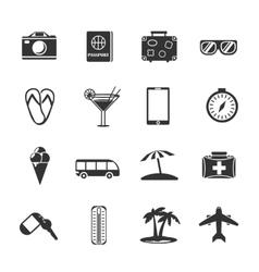 Monochrome Travel Icon Set vector image vector image