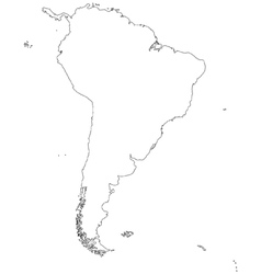 Outline map of South America vector image vector image