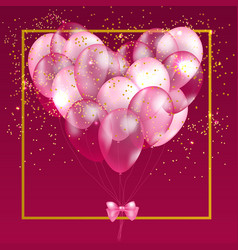 Pink balloon heart background vector