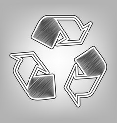 Recycle logo concept pencil sketch vector