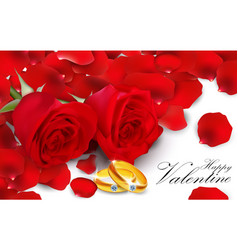 red roses with golden ring on white background vector image