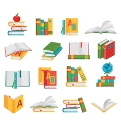 School Books Icon Set vector image vector image