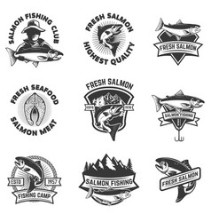 set of salmon fishing emblems seafood design vector image