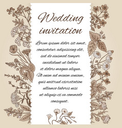 template of wedding invitation in vintage style vector image