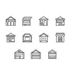 tents and pavilions black line icons set vector image vector image