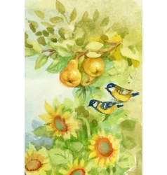 Watercolor sunflowers and pears in orchard with vector