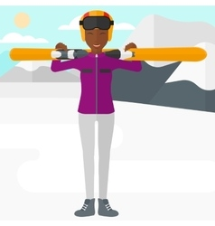 Woman holding skis vector