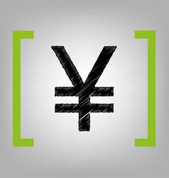 Yen sign black scribble icon in citron vector