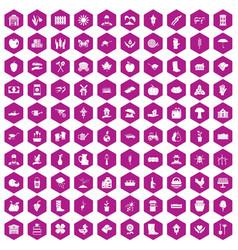 100 farm icons hexagon violet vector