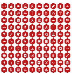 100 usa icons hexagon red vector