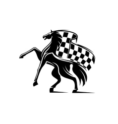 Horse with waving checkered flag Racing emblem vector image