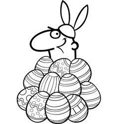 Man as easter bunny cartoon for coloring vector