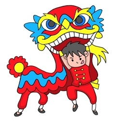 Boy with lion dancing traditional celebration vector