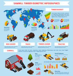 Timber market isometric infographics vector