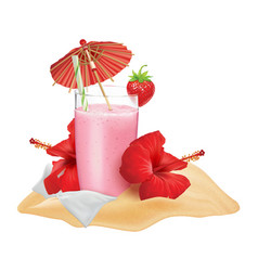 Beach composition strawberry cocktail vector