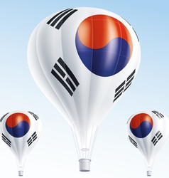 Hot balloons painted as south korea flag vector
