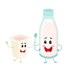 Funny milk bottle yogurt cup characters with vector