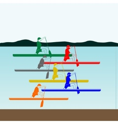 Competitions in rowing and canoeing vector
