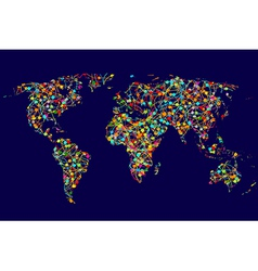 World map made of abstract colorful dots network vector