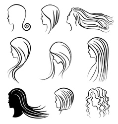 Women heads with beautiful hair vector