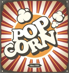 Pop corn retro design tin sign vector