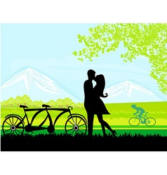 sillhouette of sweet young couple in love standing vector image