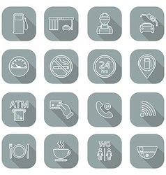 Line gas station icons service fuel glyph icons vector