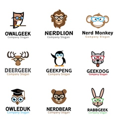 Geek animals design vector