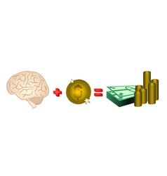 Money and brain vector