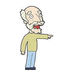 Comic cartoon scared old man pointing vector