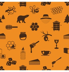 Set of honey theme icons seamless pattern eps10 vector