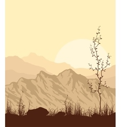 Landscape with mountains grass and tree vector