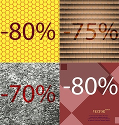 75 70 80 icon set of percent discount on abstract vector