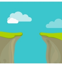 Abyss gap or cliff concept with sky and clouds vector