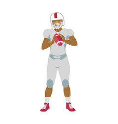 American football player in equipment with ball vector