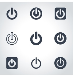 black shut down icon set vector image
