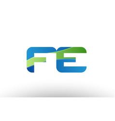 blue green fe f e alphabet letter logo vector image