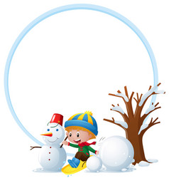 border template with boy and snowman vector image vector image