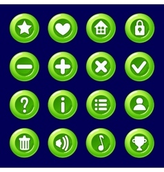 Cartoon green candy buttons for game vector