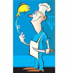 chef and fish vector image vector image