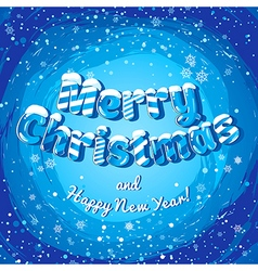 Christmas card poster banner with ice letters and vector