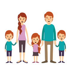 colorful image caricature family with young vector image